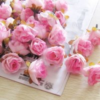 Wholesale Diy Pink Flower - 300pcs Multi Color Small Tea Rose Diy Rose Flower Silk Flowers Artificial Flowers Heads For Home Wedding Decoration Flower Head FZH032