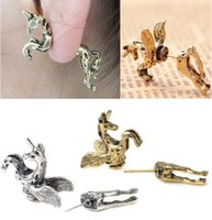 Wholesale Ear Cuffs Horse - New 1pcs lot Punk Vintage Unicorn Horse Through Ear Cuff Wrap Earring Free Shipping[E276]