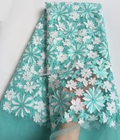 Wholesale bridal lace yard - Aqua white High quality African tulle lace bridal French lace fabric with lots of beads 5 yards free shipping by DHL