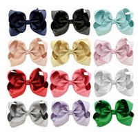 Wholesale Girls Grips - 10 CM Children Bows hair clip fashion girls hair accessories hairpins Kids Boutique grosgrain ribbon Bows barrettes hair grip R0709