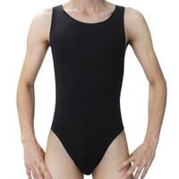 Wholesale Men Mankini - Wholesale-Fashion Hot Men Sexy mankini Leotard Underwear Undershirt men bodysuit Onesies Thong Briefs