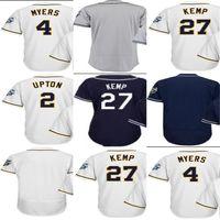 Wholesale Wil Myers - Mens Womens Kids San Diego 27 Matt Kemp 2 Melvin Upton 4 Wil Myers Blank White Blue 2016 All Star Baseball Jerseys