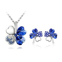 Wholesale Earrings For Designers - Fashion Popular Earring Necklace Sets for Women Designer Jewelry Four-leaf Clover Design Wedding Necklace and Earring Set 9554