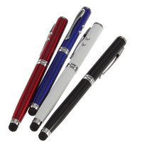Wholesale Ipad Led Screen - 1X 4 in 1 LED Laser Pointer Torch Touch Screen Stylus Ball Pen for iPhone 4 5 iPad