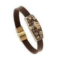 Wholesale Cheap Fashion Id Bracelets - Hellboy Men Bracelets Bangles Jewelry Bronzed Fashion Alloy Skull Leather Bracelet Punk bracelets Charm bracelet Wristbands Cheap jewelry
