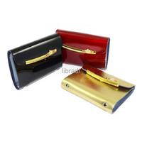 Wholesale wallet card insert - Wholesale-1pcs 24 Insert Leather Business Name ID Credit Card Holder Case Wallet Golden Flower
