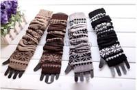 Wholesale Grey Gloves Cotton Long - 4 Colors Long Snowflake Knitted Glove Warm Hand Wrist Oversleeve Fingerless Gloves Fashion Women Winter Crochet Glove Cotton Blend