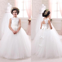 Wholesale Bridal Gowns For Kids - 2018 Cheap Ivory Bridal Flower Girls Dresses for Weddings Elegant Crew Neck Sleeveless Lace Tulle Kids Formal Wear