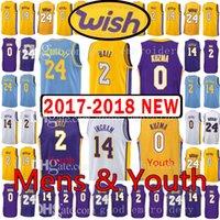 Wholesale Lakers Jersey Xxl - 2017-18 New Youth Men's Los Angeles 2 Lonzo Ball 0 Kyle Kuzma Jersey Lakers 24 Kobe 14 Brandon Ingram Bryant Kid's Wish Patch Jerseys