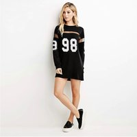 Wholesale Jersey Cotton Tees - Hot Women Fashion Baseball Long Shirts Dresses Jersey Casual Boyfriend Style Sheer Mesh Patchwork Number 98 Print Tees Shirt Dress 4008