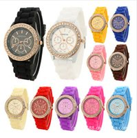 Wholesale Crystal Blue Candy - Colorful Fashion Shadow Geneva 3 eyes Crystal Diamond Rubber Silicone Watches Unisex Men Women Quartz Candy Jelly Wristwatch DHL