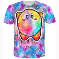 Wholesale Tie Dye T Shirt Galaxy - FG1509 Cute cartoon character Kirby 3d t shirt anime Twinkle Popo popopo 3d galaxy t shirt kawaii tie dye painting tees tops women men
