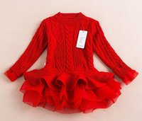 Wholesale Girls Sweater Dress Kids - Retail New Fashion Baby Jumper Girls Autumn And Winter Tutu Dresses Kids Sweater Tulle Dresses In Stock