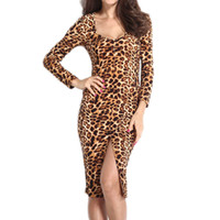 Wholesale Cheap Leopard Print Long Dresses - 2015 Fashion Summer Bodycon Dresses Wommen Leopard Print Long Sleeve Front Split Dress cheap clothes china vestidos femininos