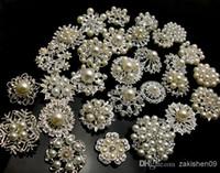 karışık gelin broşları toptan satış-50 P GÜMÜŞ COLORX Karışık Toplu Düğün Gelin Gümüş Kaplama Kristaller Broş Broş Buket Sahte İnci Elmas
