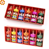Wholesale Wholesale Christmas Crafts For Kids - 6pcs Cute Carrousel Creative Desktop Decoration Merry -Go -Round Wood Craft Christmas Ornaments Diy Gift For Home Decor Kids Toys