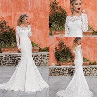Wholesale white shirt button up - New Arrival 2018 Romantic Long Sleeves Lace Wedding Dresses Mermaid Bateau Neck Sweep Train Lace-up Plus Size Bridal Gowns Covered Buttons