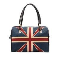 Wholesale British Flag Bags - British Vintage Women Handbag Flag Pattern PU Leather Fashion Totes Retro Shoulder Bag Black H12295B