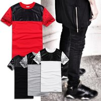 Wholesale double spell - Europe America new Men's T-shirt Lengthen Double zipper Spell leather Cashew nuts Flower sleeve Hip hop short sleeves T-shirt