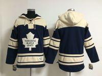 Wholesale Men Blank Sweatshirts - Top Quality ! Toronto Maple Leafs Old Time Hockey Jerseys Blank NO Name Number Blue Hoodie Pullover Sports Sweatshirts Winter Jacket