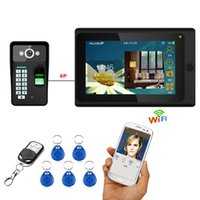 7 '' Wired Wifi Fingerprint RFID Contraseña Video Door Door Doorbell Intercom Sistema de entrada con 1000TVL Cámara al aire libre + Remote