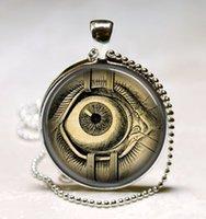 Wholesale Human Eyeball - Steampunk Jewelry Human Anatomy Eyeball Necklace Evil Eye Science Medical Art Pendant with Ball Chain