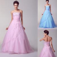 ingrosso palline bianche del vestito blu-Abiti Quinceanera rosa moda Abiti da ballo bianchi blu Abiti da ballo in organza con perline 2015 Abiti dolci 16 In magazzino