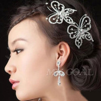 Wholesale Elegant Hair Flowers - Elegant Wedding Tiara Sparkling Silver Plated Austrian Crystal Butterfly Bridal Hair Combs Hairpin Jewelry Hair Accessories [GF05008*1]