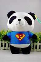 Wholesale Men Panda Suits - [New arrival] [Hot sale] Super man doll Plush unisex lovely classic panda type in superman suit