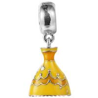 pandora venda por atacado-2015 Nova 925 Sterling Silver Belle Vestido Dangle Charme Talão com Amarelo Esmalte Serve Para Pandora Europeia Jóias Pulseiras Colares Pingentes
