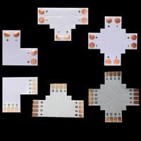 conectores de tira led de 8mm al por mayor-L T + conector de luz de tira led en forma de cruz para 8mm 3528 solo color 10mm 5050 solo color RGB led tira