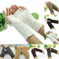 Wholesale Knitted Long Fingerless Gloves - Winter Unisex Arm Warmer Elbow Long Fingerless Mitten Knitted Soft Gloves JIA532