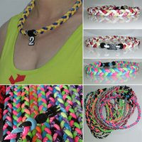 Wholesale Wholesale Triple Braided Titanium Necklaces - New Baseball Sports Titanium triple braided energy balance team sports necklaces