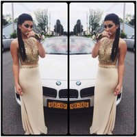 Wholesale Two Piece Evening Gowns Online - Stunning 2016 Two Piece Prom Dresses Sheath Gold Crystals Evening Party Gown Chiffon Long Cheap Prom Dress Online