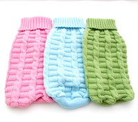 Wholesale Dog Jumper Sweaters - Free shipping!Pink Blue Green dog Sweater Coat Twist design,pet diggie Jumper Jacket clothes,5 sizes