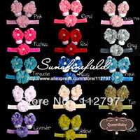 Wholesale Order Baby Sandals - Wholesale-Trial Order Baby Barefoot Sandals with shabby Flower and Matching wide Elastic Headband 20set lot QueenBaby