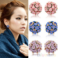 Wholesale Women s Flower Petals Blossom Earrings Eardrop Clip Ear Studs Romantic Bohemia Ceramics Clover Diamond studded Earring Jewelry