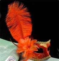 Wholesale masquerade masks feathers - Women's Masquerade Mask Ostrich Feather Diamond Lace Venetian Masquerade Masks Party Mardi Gras Masks Free DHL 233