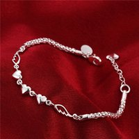 Wholesale Hook White Feather - Hot christmas sale 925 silver Heart Feather Bracelet DFMCH365, Brand new fashion 925 sterling silver Chain link bracelets high grade