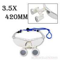 Wholesale Dentist Loupes - Brand New Dentist Silver Dental Surgical Medical Binocular Loupes 3.5X 420mm Optical Glass Loupe with Protective Case