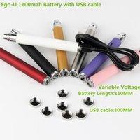 Wholesale Ego U Variable Voltage - Oringinal eGo-U 650mah 900mah 1100mah Variable Voltage passthrough battery from 3.2V 3.7V 4.2V with usb cable batteries for e cigarettes