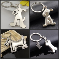 Wholesale Key Chain Funny - 20pcs Creative Fashion Dog and its Bones Car Keychain Key Chain Ring Keyring Keyfob For Men and Women Funny Gift