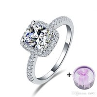 Wholesale Sterling Silver Real Stones - Real 925 Sterling Silver Ring Engagement O Finger anel aneis de diamante CZ Diamond Zircon anel for Women Wedding Jewelry T0820