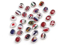 20Pcs / Lot Mixed Alloy Resin National Flag Charm DIY Alliage Flottant Charms Pour Memory Glass Living Locket