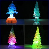 Wholesale Multi Changing Christmas Trees - 4Pcs Lot Led Changing Christmas Crystal Tree Flashing Light Party Decoration