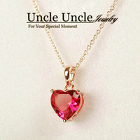 Wholesale Rose Gold Pendant Light - Sweet!!! Rose Gold Color Light Red Zirconia Setting Heart-shape Design Simple Lady Pendant Necklace Wholesale