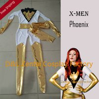 Wholesale White Catsuit Women - Free Shipping DHL Real Amazing X-Men White&Gold Jean Grey Phoenix Superhero Zentai Catsuit For Woman Halloween Costume XM0011