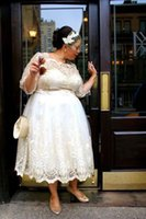 Wholesale Wedding Short Dress Cheap Price - 2017 Cheap Price Modern Short Wedding Dresses Tea Length Sheer Bateau Long Sleeves Plus Size Lace Wedding Gowns With Illusion Appliques