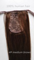 """brown remy straight hair Canada - Ponytail Brazilian Hair Extensions Straight Remy Hair Weave Bundles 4# Medium brown 16"""" -26"""" 70g set 100% Human Hair Ponytail Extensions"""