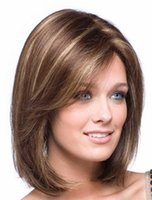 Wholesale Wholesale American Synthetic Wigs - Rihanna Style New Stylish color Black Short Straight Africa American wigs Synthetic Full Lace Human Hair can be washed and curled
